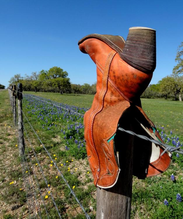 Cowboy Boots Texas Hill Country Fence