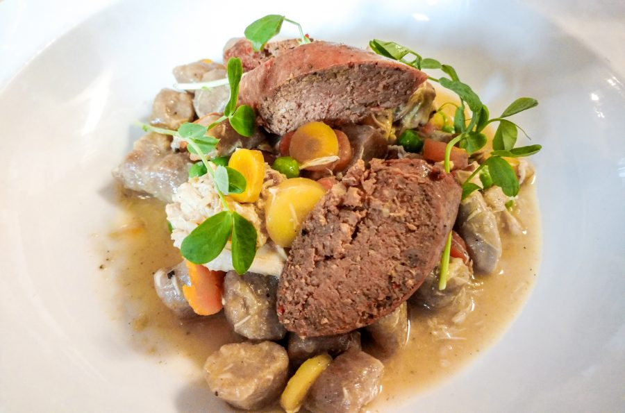 Best Restaurants in Mobile: The Noble South - Rabbit Sausage with Chicken and Rye Dumplings
