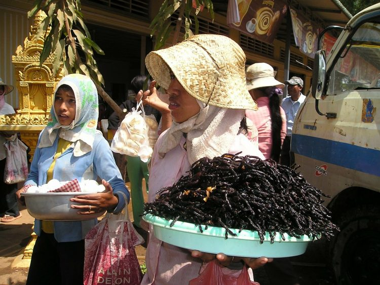 Woman carrying a platter of tarantulas in Cambodia