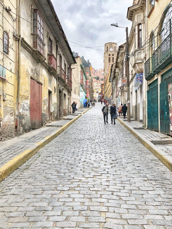 Cobble stoned street in La Paz Bolivia