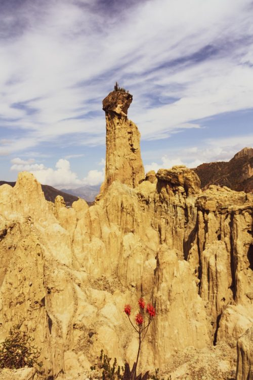 Stone pillars formed by erosion at Valle De La Luna La Paz Bolivia
