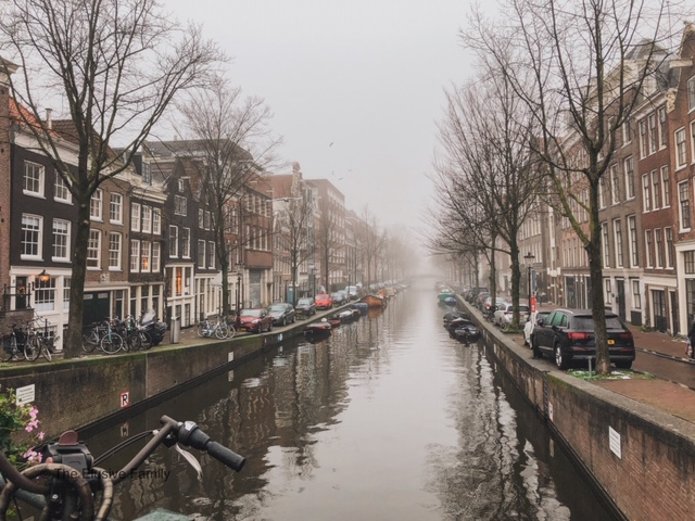 Gorgeous river in Amsterdam during the winter time