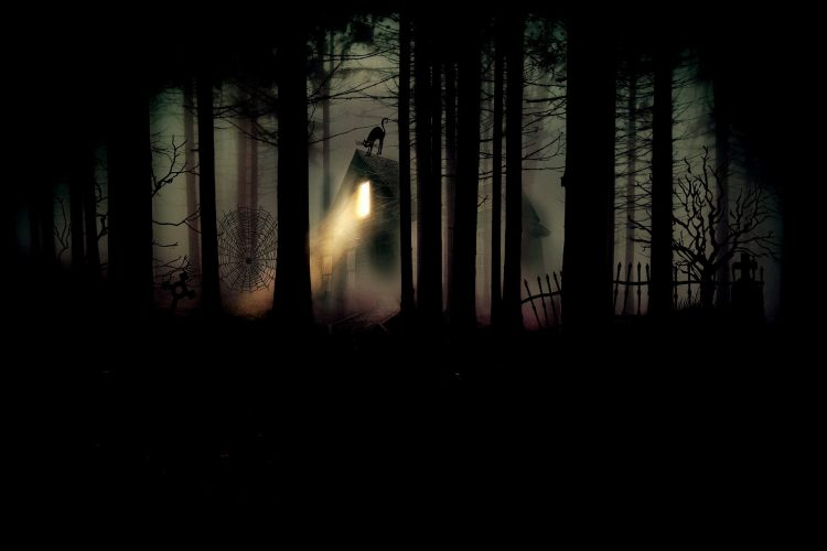 Ominous woods with an eerie light shining through from a creepy house
