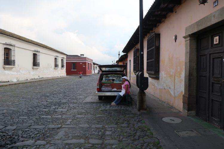 Street with a truck waiting there in Guatemala